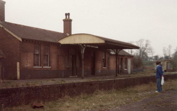 Brian Hart at derelict Isfield station, south of Uckfield, in 1977.